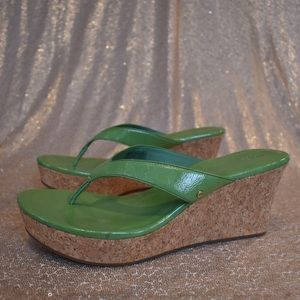 UGG green and tan wedge thong sandals size 12